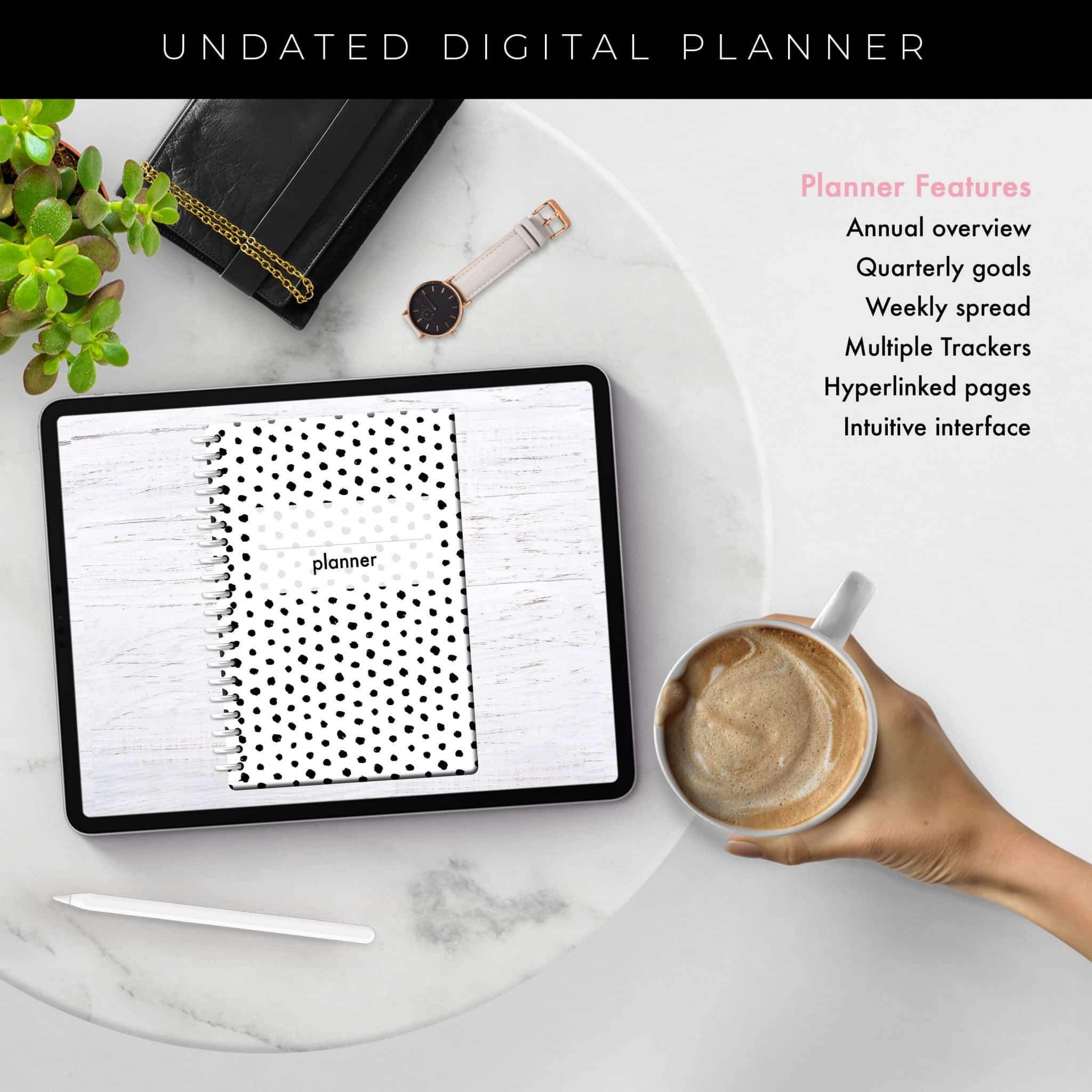 Soul Gal Black & White Dots Undated Planner