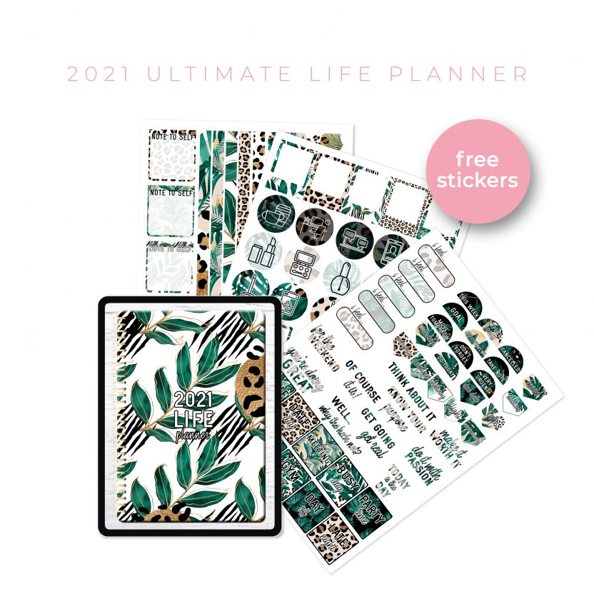 2021 Ultimate Life Planner in Gold Tropical – Portrait
