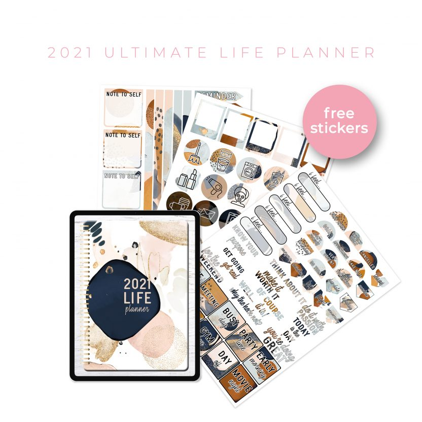 2021 Ultimate Life Planner in Gold Abstract – Portrait