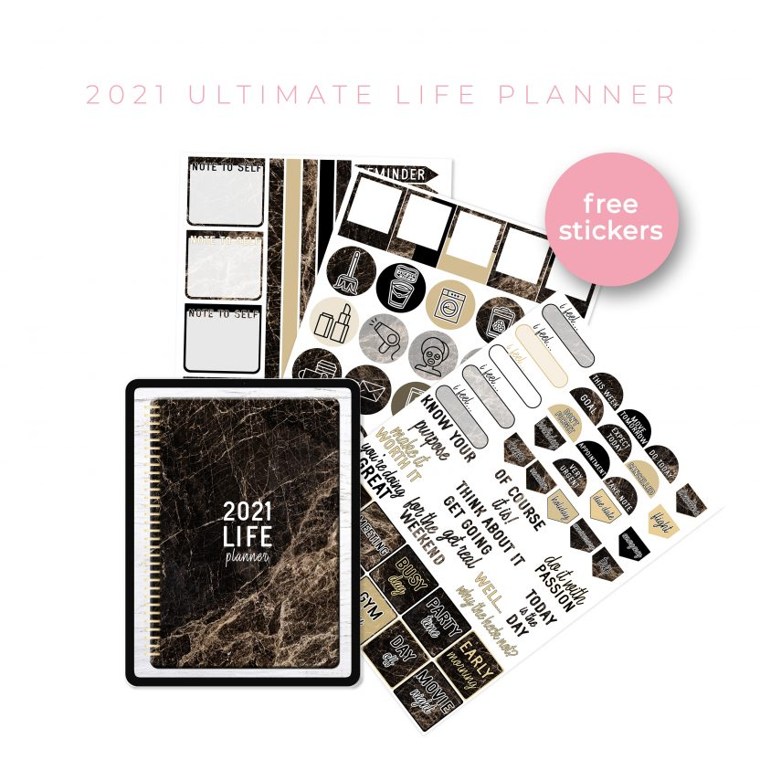 2021 Ultimate Life Planner in Gold Marble – Portrait