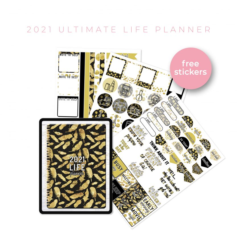 2021 Ultimate Life Planner in Gold Feathers – Portrait