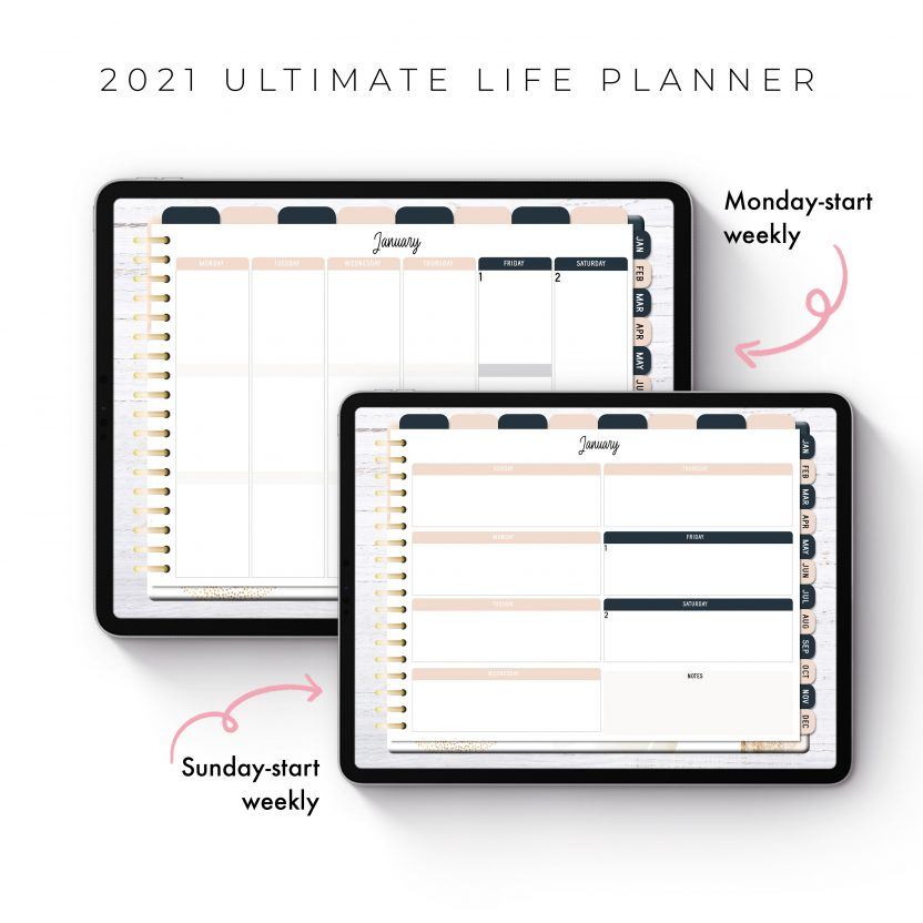 2021 Ultimate Life Planner in Gold Abstract – Landscape