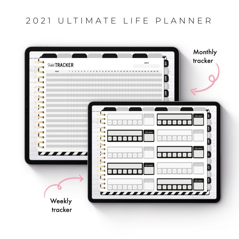 2021 Ultimate Life Planner in Black Stripes – Landscape