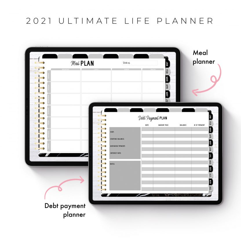 2021 Ultimate Life Planner in Black Marble – Landscape