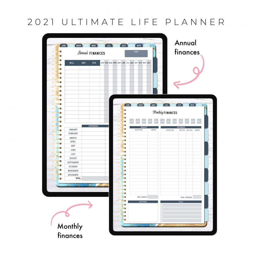 2021 Ultimate Life Planner in Blue Gold – Portrait