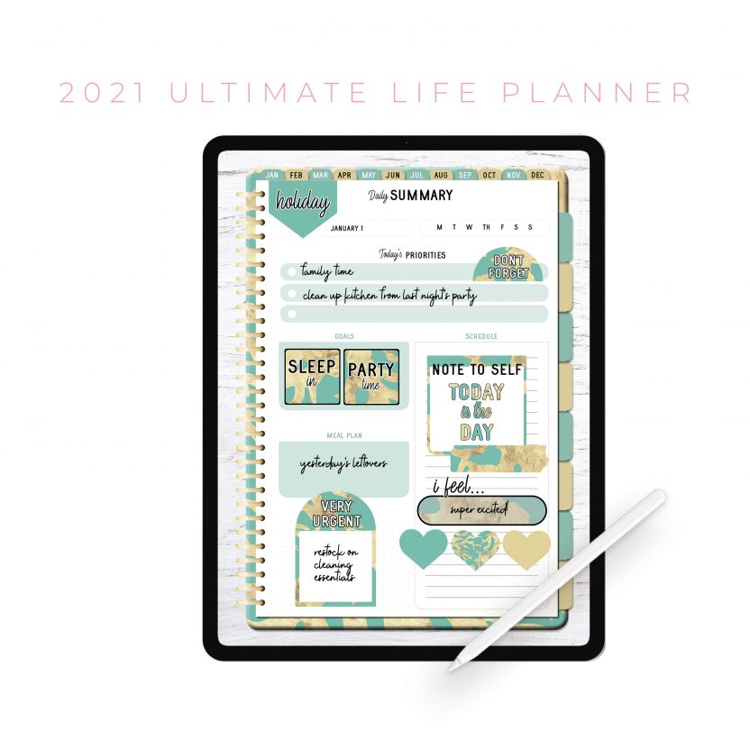2021 Ultimate Life Planner in Teal Gold – Portrait