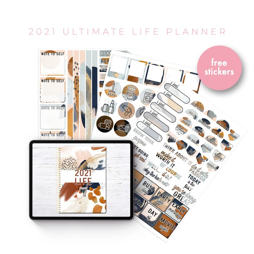 2021 Ultimate Life Planner in Gold Rustic – Middle Spiral