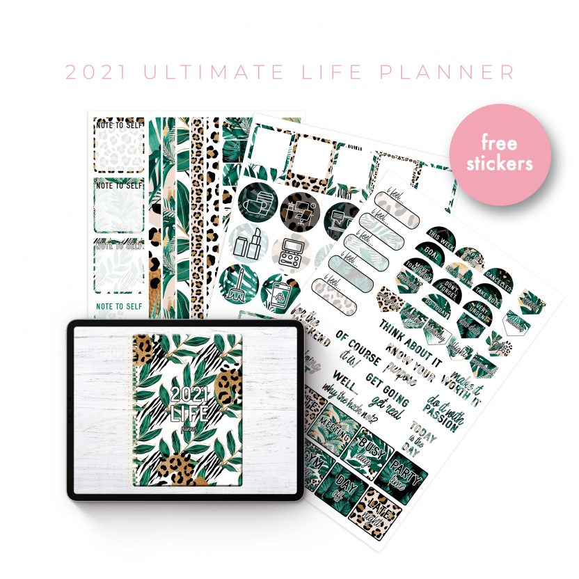 2021 Ultimate Life Planner in Gold Tropical – Middle Spiral