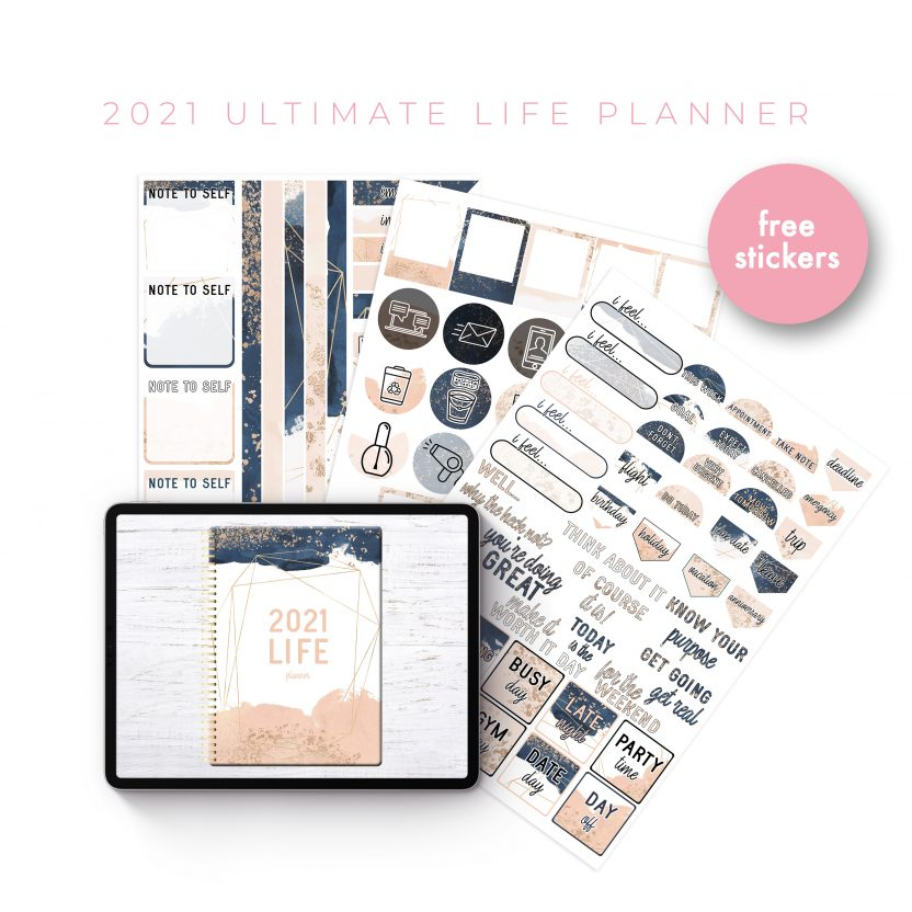 2021 Ultimate Life Planner in Blush Gold – Middle Spiral
