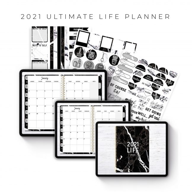 2021 Ultimate Life Planner in Black Marble – Middle Spiral