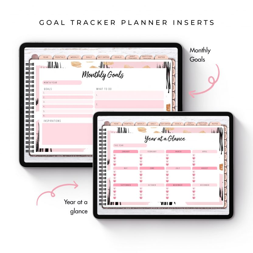 Goal Tracker Planner Inserts – Pink