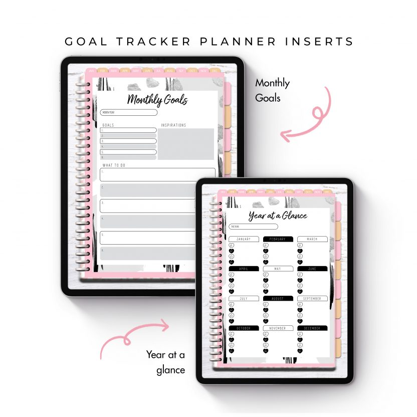 Goal Tracker Planner Inserts – Black and White