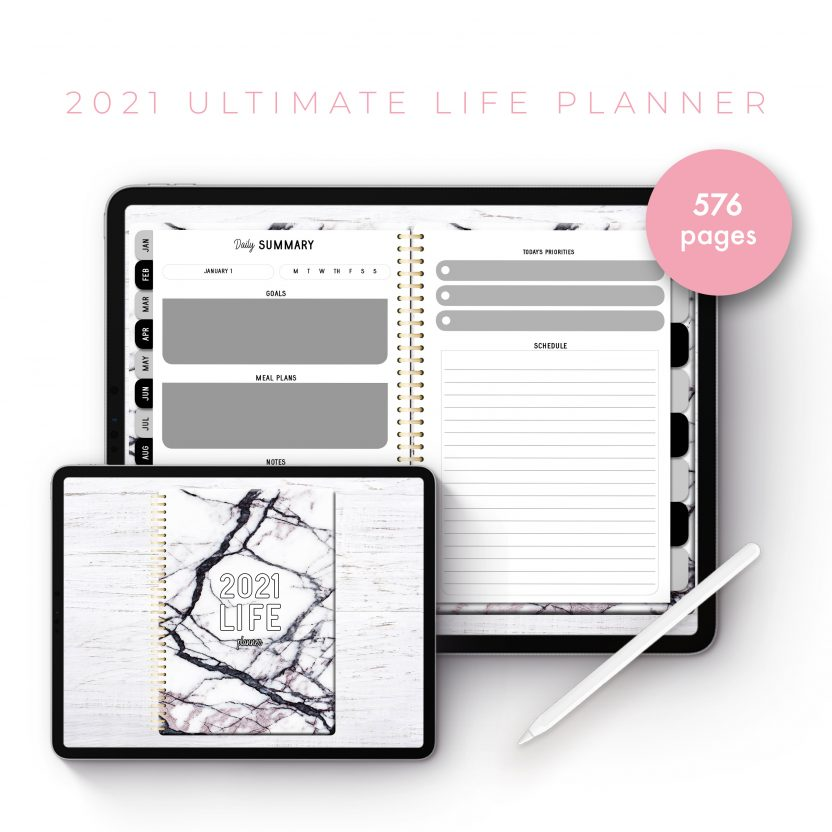 2021 Ultimate Life Planner in White Marble – Middle Spiral