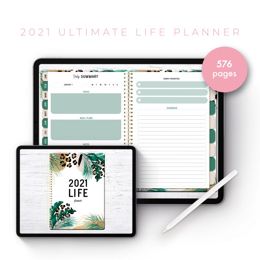 2021 Ultimate Life Planner in Gold Leopard – Middle Spiral