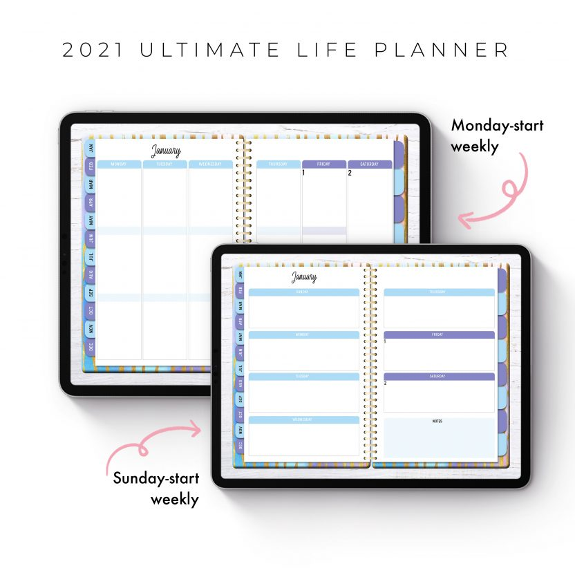 2021 Ultimate Life Planner in Rainbow Stripes – Middle Spiral