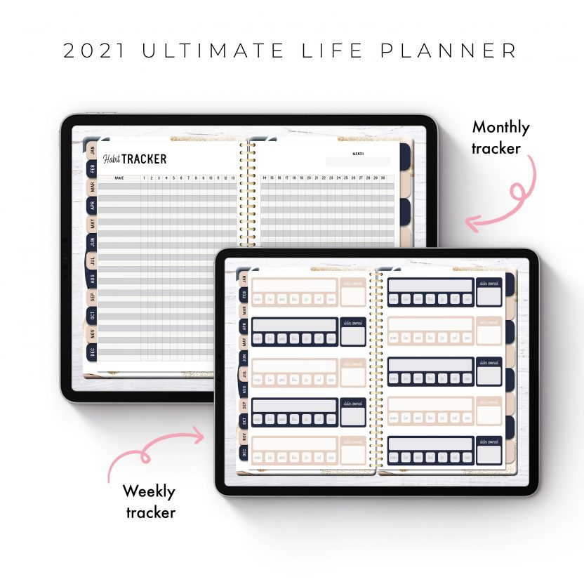 2021 Ultimate Life Planner in Gold Abstract – Middle Spiral