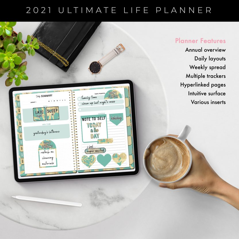 2021 Ultimate Life Planner in Teal Gold – Middle Spiral