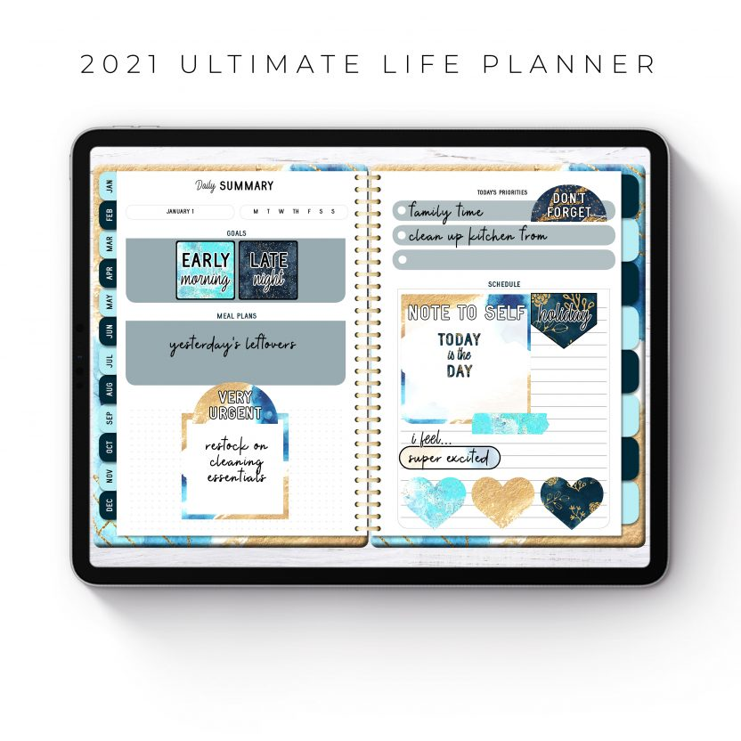 2021 Ultimate Life Planner in Blue Gold – Middle Spiral