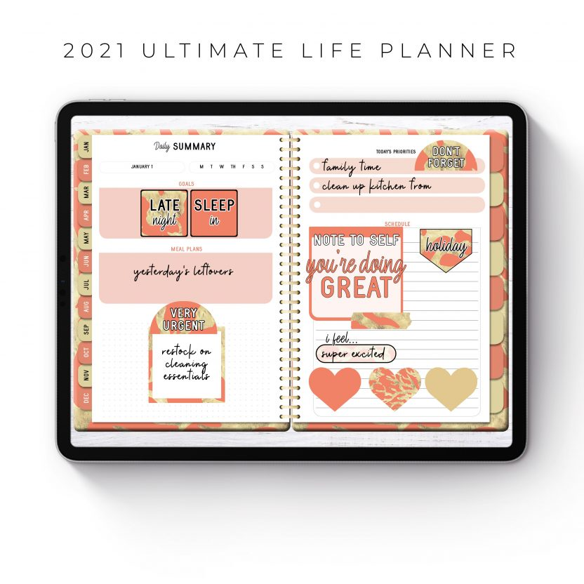 2021 Ultimate Life Planner in Coral Gold – Middle Spiral