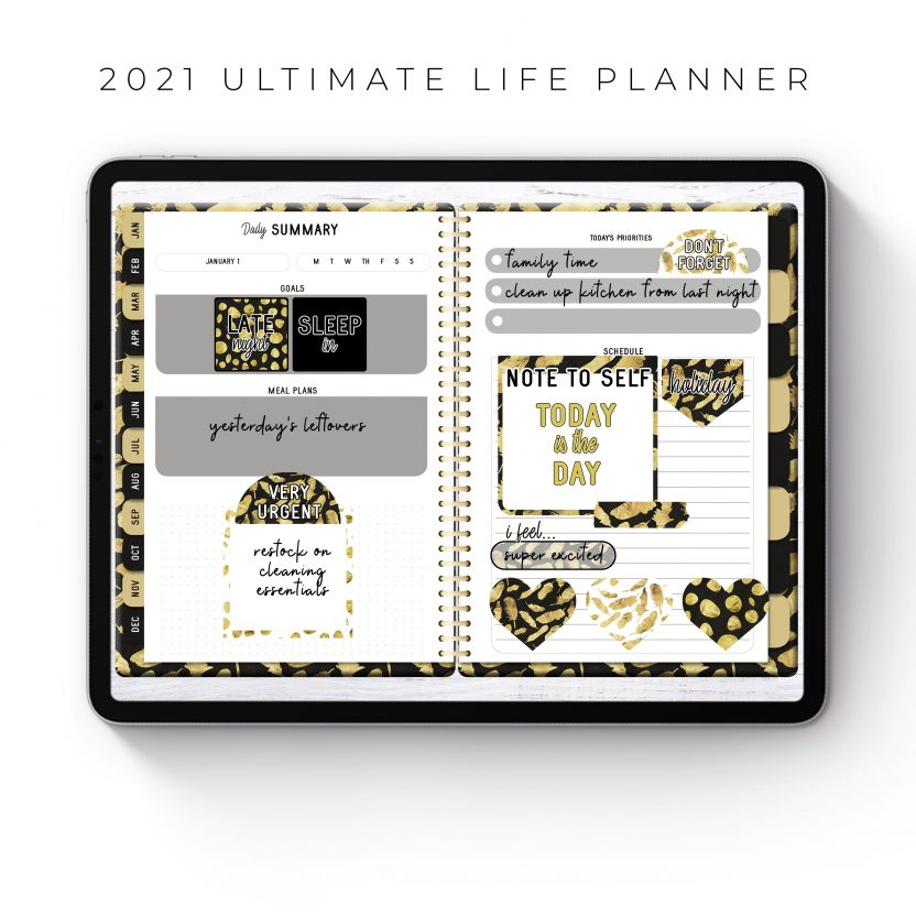 2021 Ultimate Life Planner in Gold Feathers – Middle Spiral