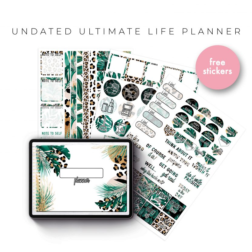 Undated Ultimate Life Planner in Gold Leopard – Landscape