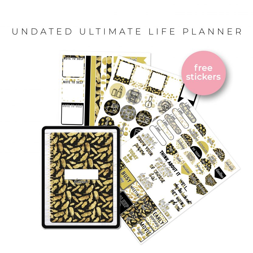 Undated Ultimate Life Planner in Gold Feathers – Portrait