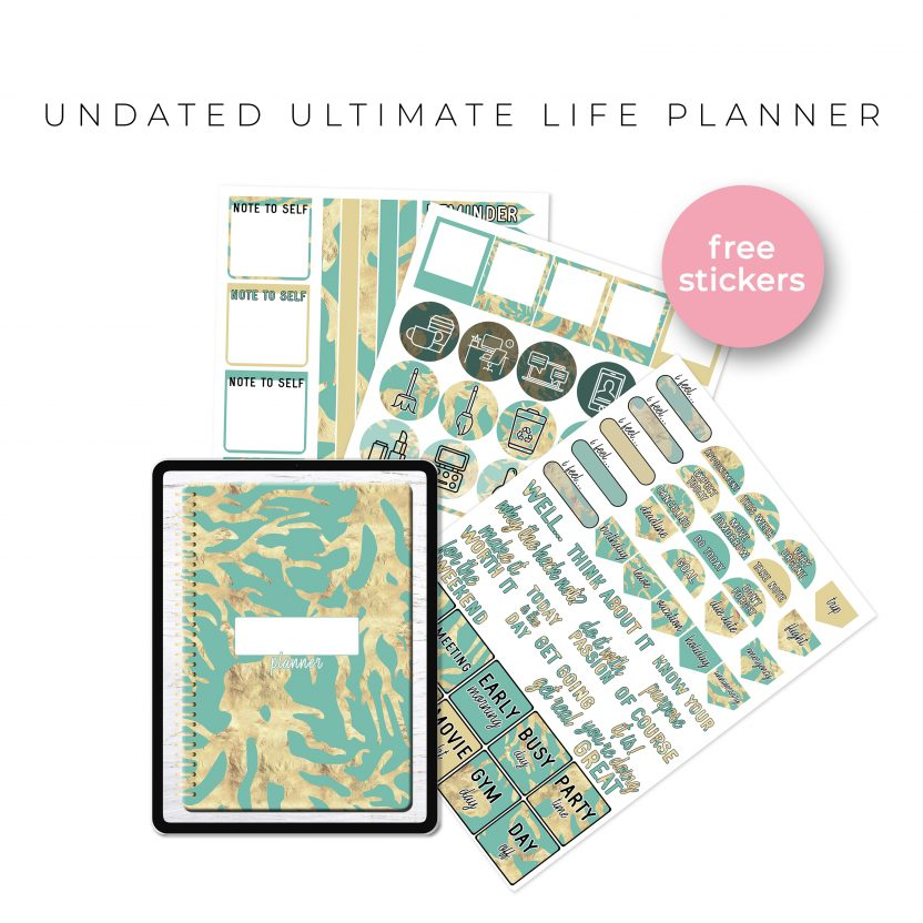 Undated Ultimate Life Planner in Teal Gold – Portrait