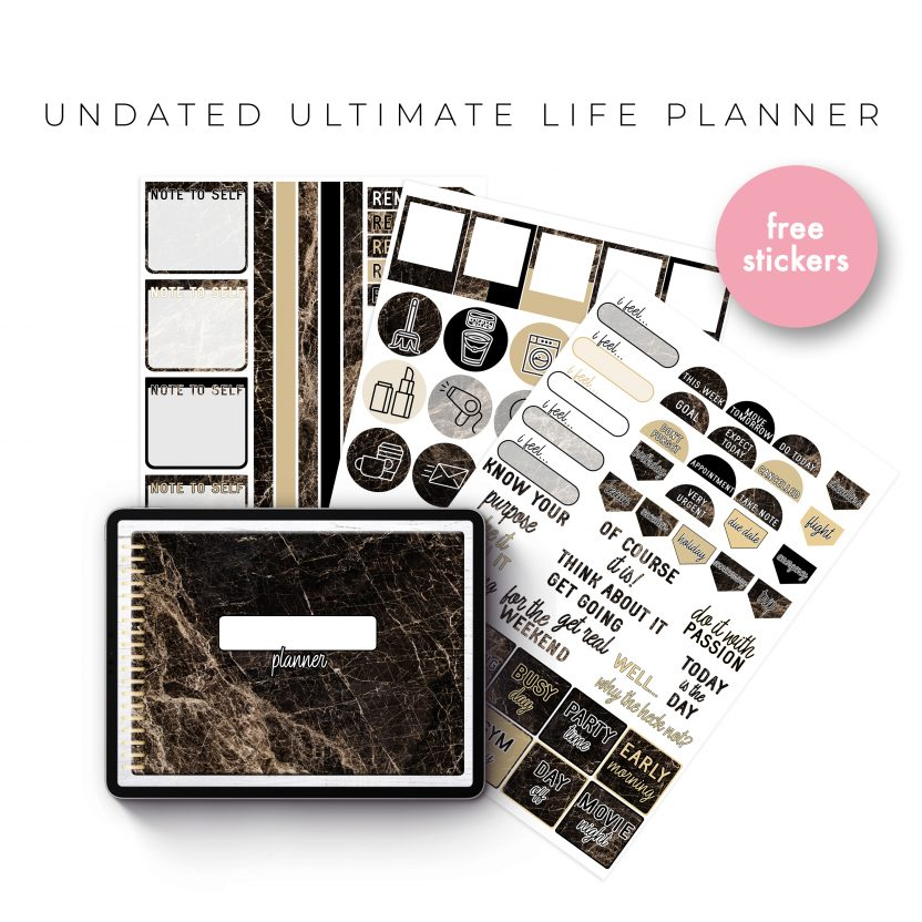 Undated Ultimate Life Planner in Gold Marble – Landscape