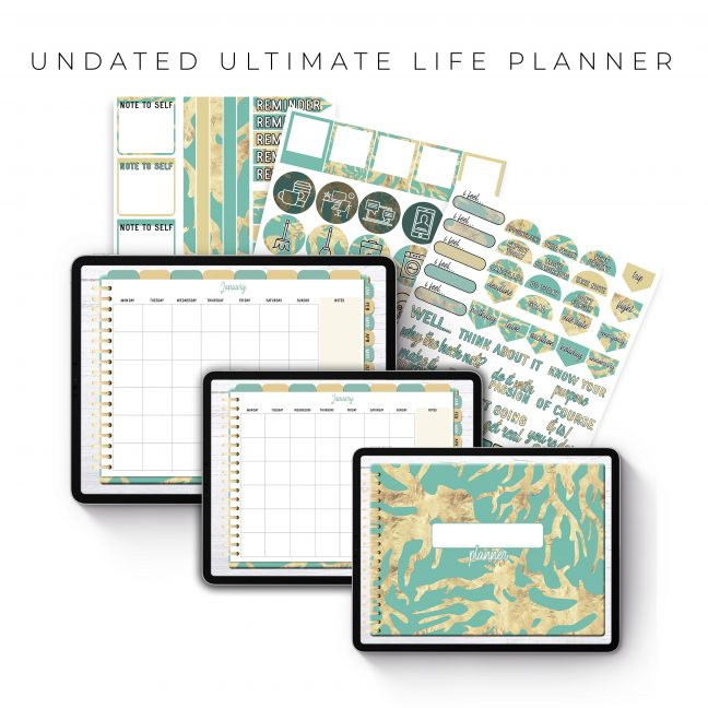 Undated Ultimate Life Planner in Teal Gold – Landscape
