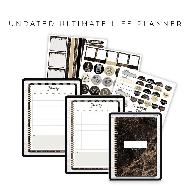 Undated Ultimate Life Planner in Gold Marble – Portrait