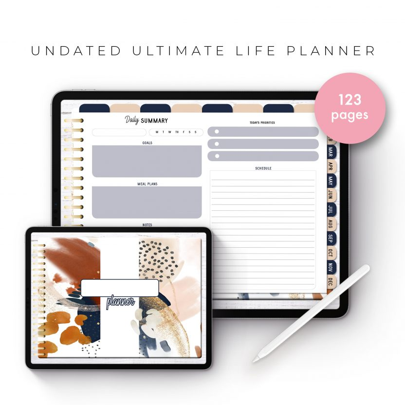 Undated Ultimate Life Planner in Gold Rustic – Landscape