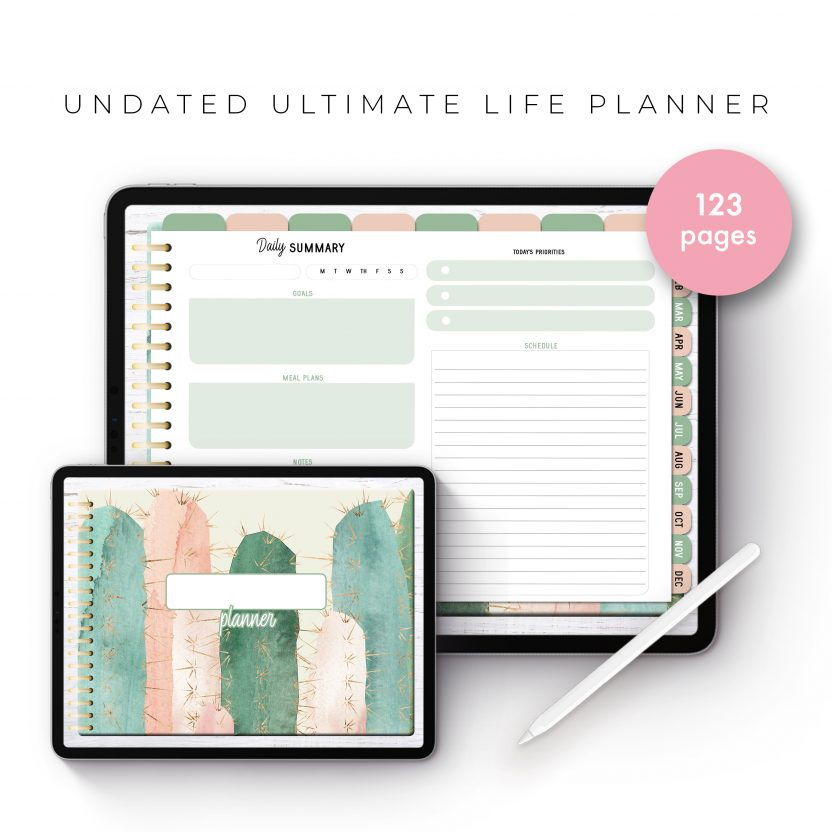 Undated Ultimate Life Planner in Pink Cactus – Landscape