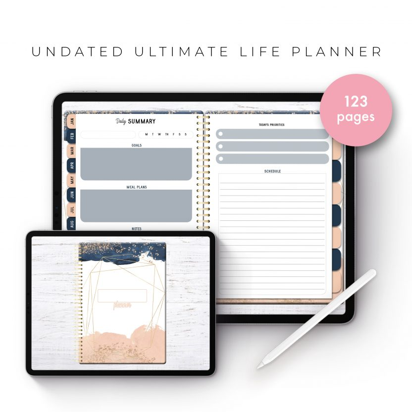 Undated Ultimate Life Planner in Blush Gold – Middle Spiral
