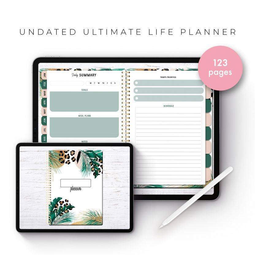 Undated Ultimate Life Planner in Gold Leopard – Middle Spiral