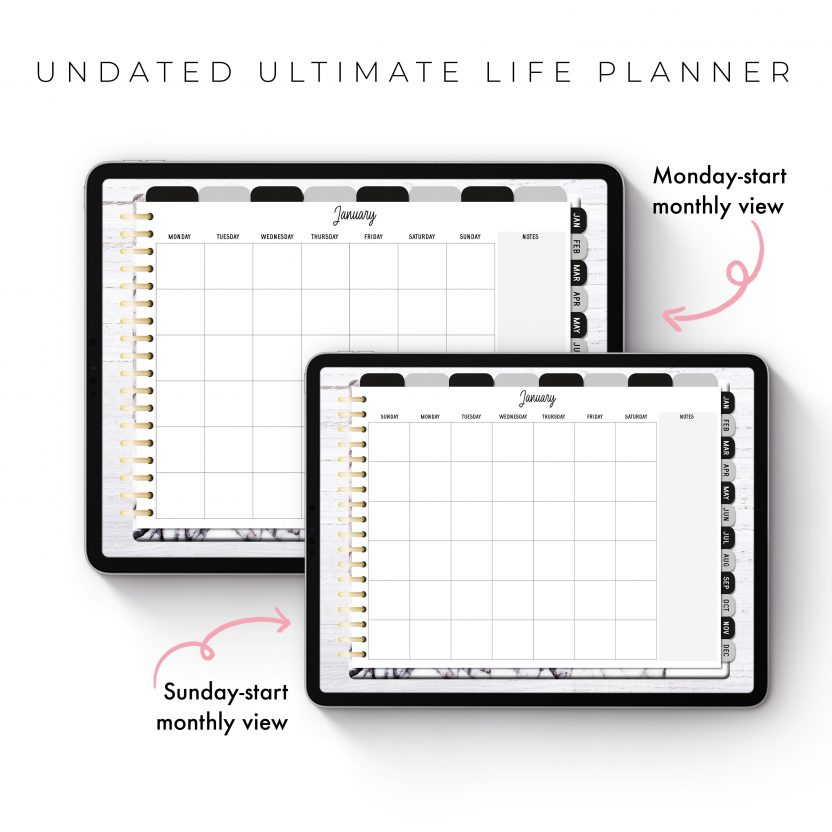 Undated Ultimate Life Planner in White Marble – Landscape