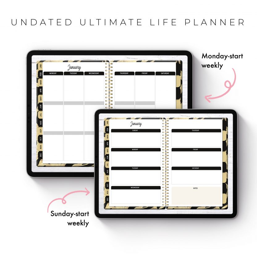 Undated Ultimate Life Planner in Black Gold – Middle Spiral