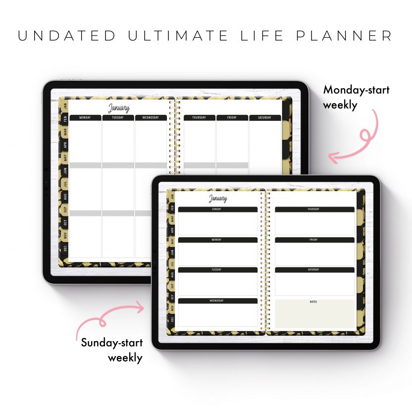 Undated Ultimate Life Planner in Gold Feathers – Middle Spiral