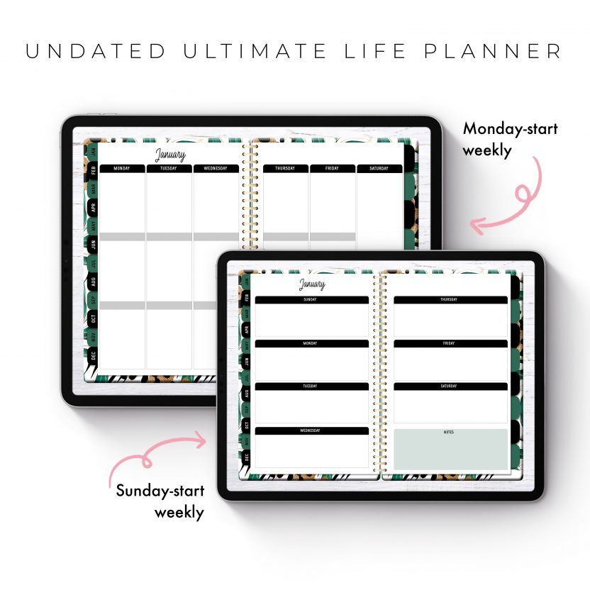 Undated Ultimate Life Planner in Gold Tropical – Middle Spiral