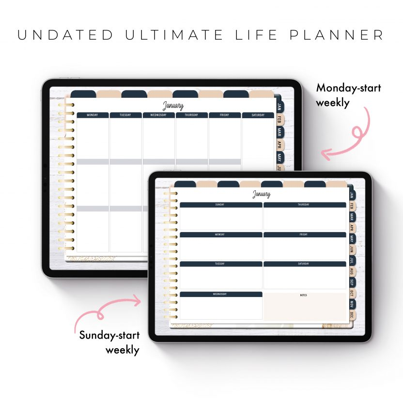 Undated Ultimate Life Planner in Gold Abstract – Landscape