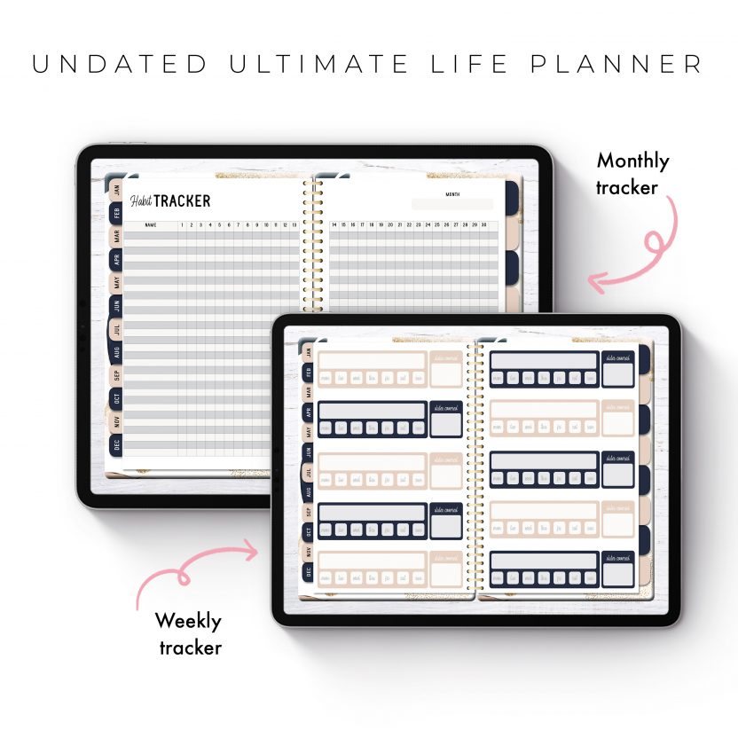 Undated Ultimate Life Planner in Gold Abstract – Middle Spiral