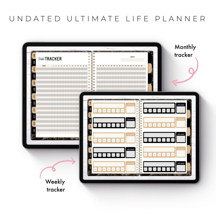 Undated Ultimate Life Planner in Gold Marble – Middle Spiral