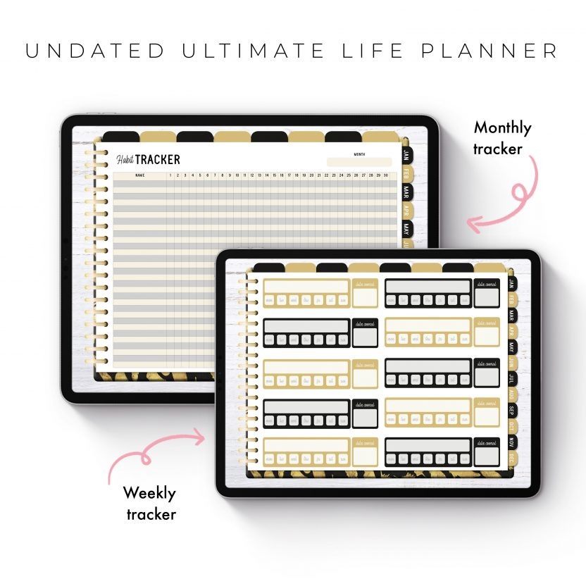Undated Ultimate Life Planner in Gold Feathers – Landscape