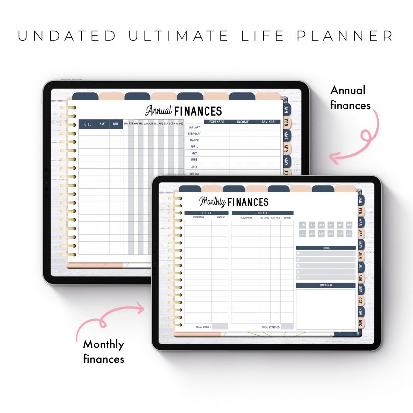 Undated Ultimate Life Planner in Blush Gold – Landscape
