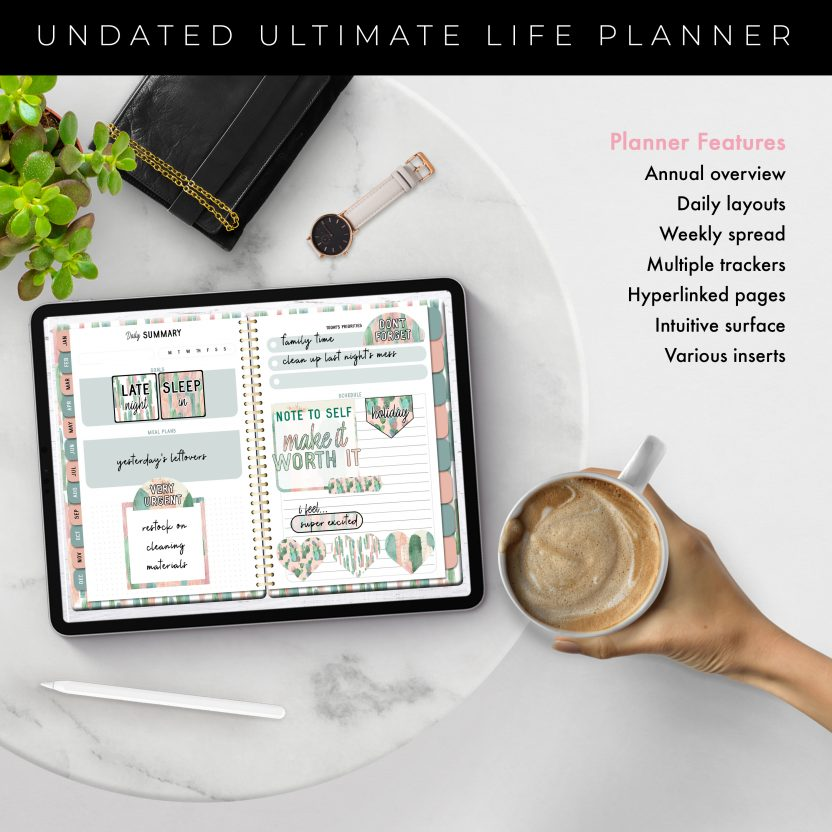Undated Ultimate Life Planner in Pink Desert – Middle Spiral