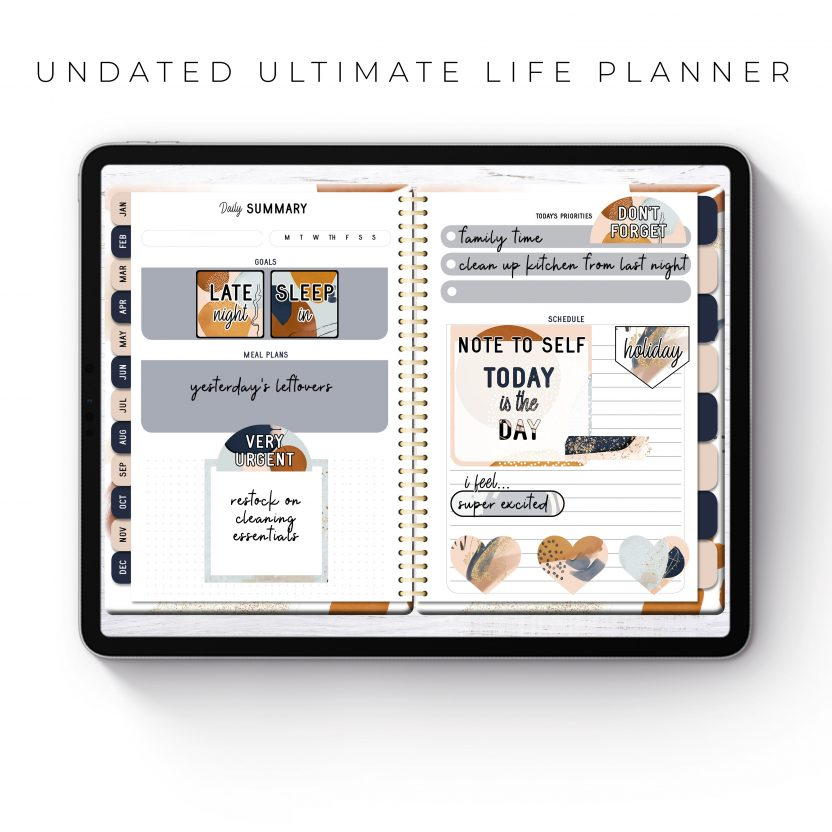 Undated Ultimate Life Planner in Gold Rustic – Middle Spiral