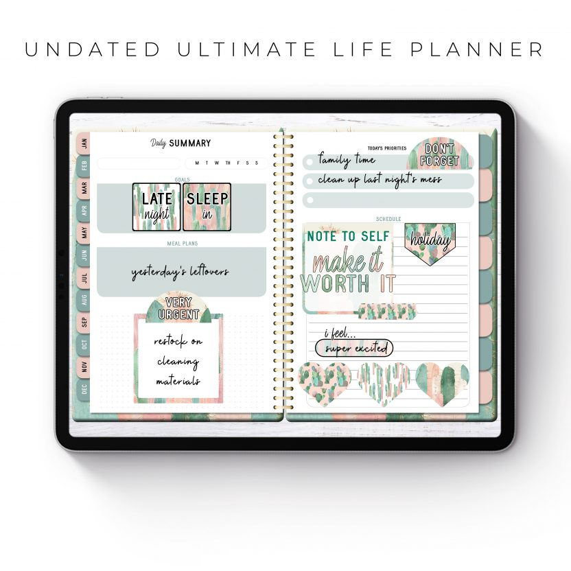 Undated Ultimate Life Planner in Pink Cactus – Middle Spiral