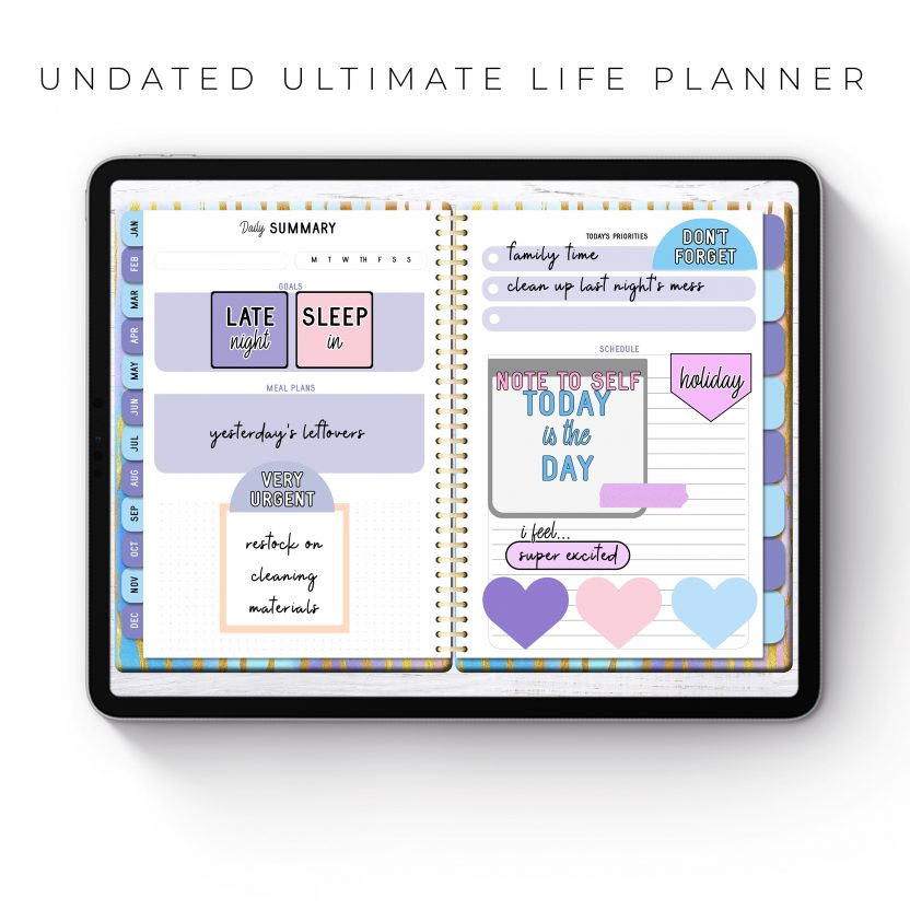 Undated Ultimate Life Planner in Rainbow Stripes – Middle Spiral