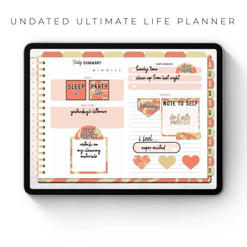 Undated Ultimate Life Planner in Coral Gold – Landscape