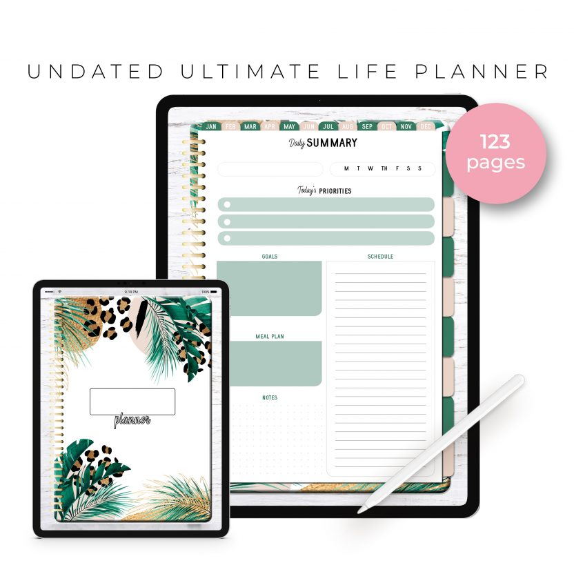Undated Ultimate Life Planner in Gold Leopard – Portrait