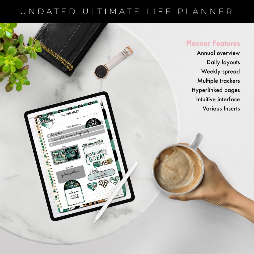 Undated Ultimate Life Planner in Gold Tropical – Portrait